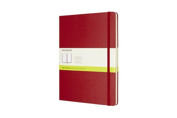 Moleskine Classic Notebook, Extra Large, Plain, Scarlet Red, Hard Cover (7.5 X 10)