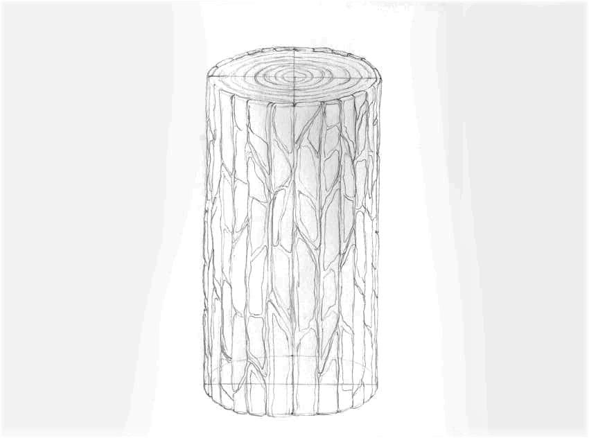como desenhar casca de árvore realista