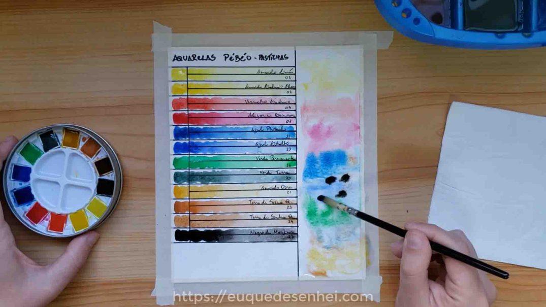 Tabela de cores com as aquarelas Pébéo