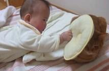 赤ちゃんの枕攻撃を受け止める猫