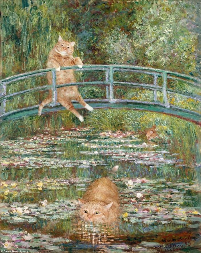 クロード・モネの睡蓮の橋と猫