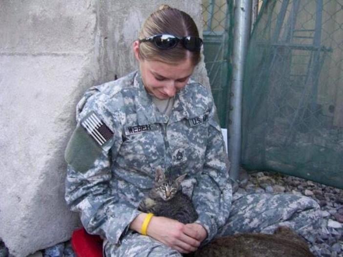 子猫を保護した兵士