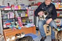 吹雪から猫を助ける男性