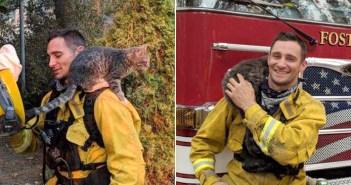 猛烈な山火事の中から助け出された猫。救ってくれた消防士とすぐに心を通わせ、そのまま最高の家族になる