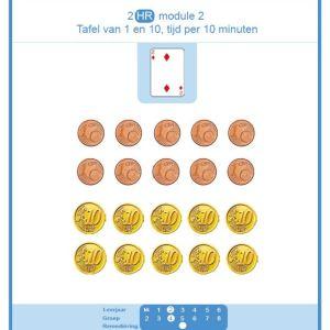 2 HR mod 2 tafel van 1 en 10 en tijd per 10 min