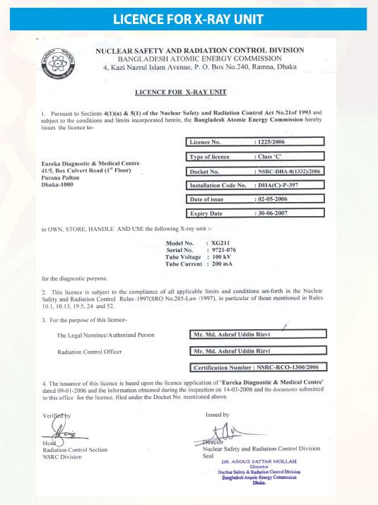 Licence For X Ray Eureka Diagnostic Medical Centereureka