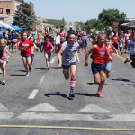 Photos by Sara Pfeifer Eureka youths battle it out to see who's the fastest in the always popular foot race last Wednesday. The event was just one of many fun things to do at the annual Eureka County Fourth of July celebration.