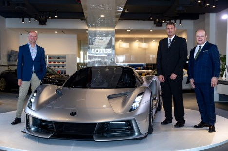Image 3-(L-R) Russell Carr, Director, Lotus Design, Phil Popham, CEO, Lotus Cars and Karl Hamer, CEO of Adamas Motors, Lotus dealer