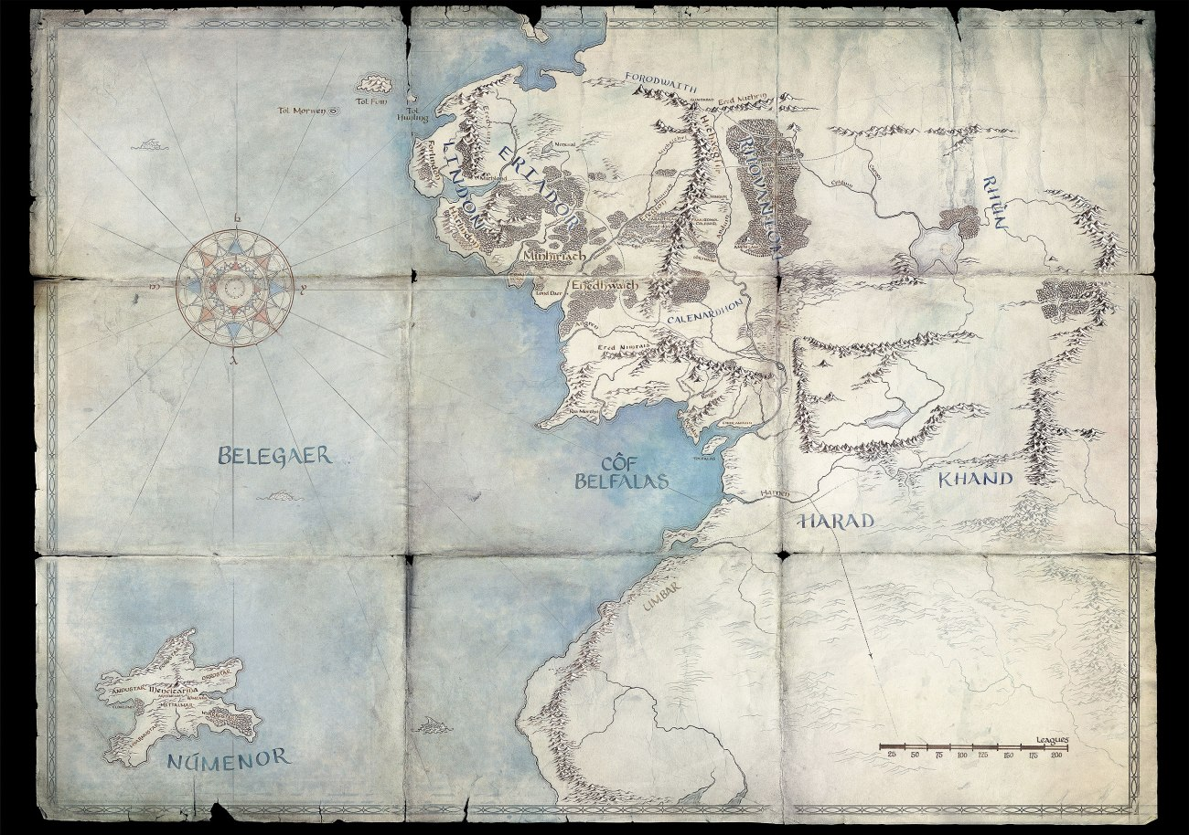 Map of Middle Earth from 'The Lord of the Rings'