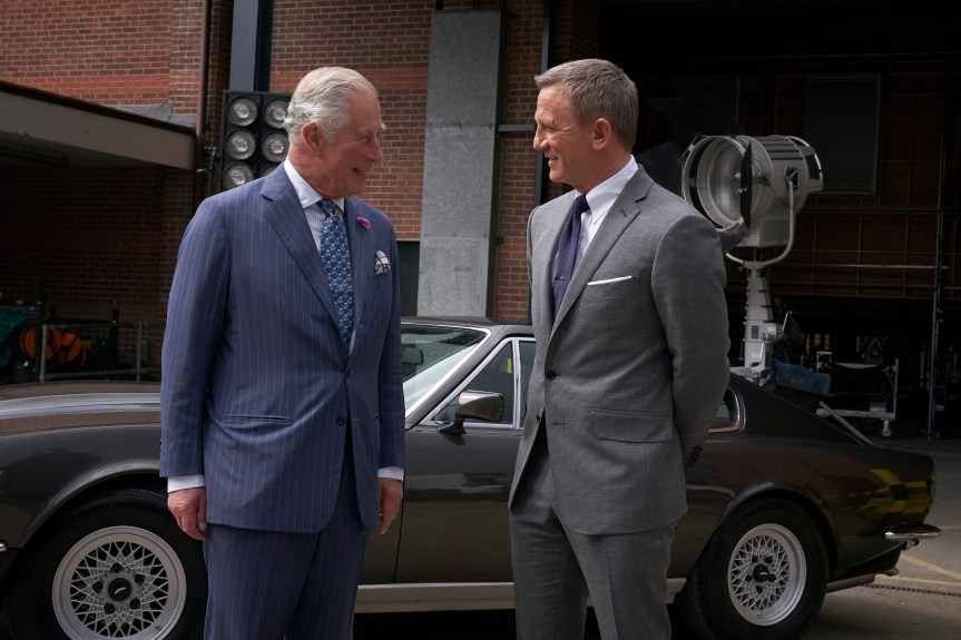 UNIVERSAL SELECT Prince Charles visits B25 at Pinewood Studios 20/6/2019 and meets James Bond, Daniel Craig and sees two of the cars featured in the film, Aston Martin DB5 and Aston Martin V8 Vantage