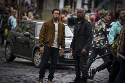 """(from left, centered) Tej (Chris """"Ludacris"""" Bridges) and Roman (Tyrese Gibson) in F9, directed by Justin Lin."""