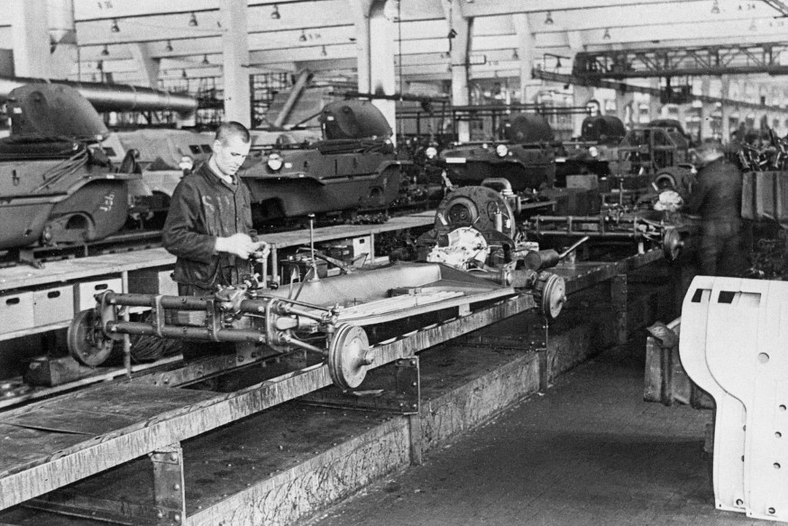 Soviet forced laborers at on the Schwimmwagen assembly line during World War II.