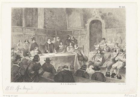 Grabado en el que se observa la reunión de 1651