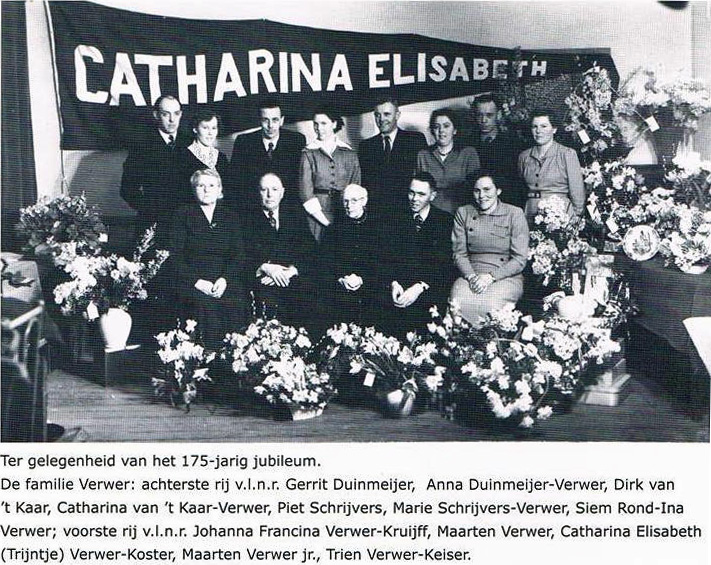 Catharina Elisabeth, 91 years old, in the centre front. Trien is front extreme right. The extended family at the 175th Anniversary of the Verwer family company in 1952.