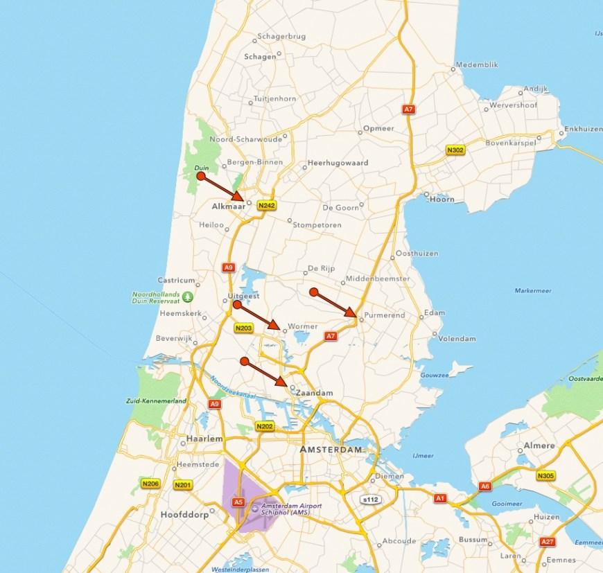 "Catharina Elisabeth's ""home patch"" - Alkmaar, Wormerveer, Zaandam and Purmerend."