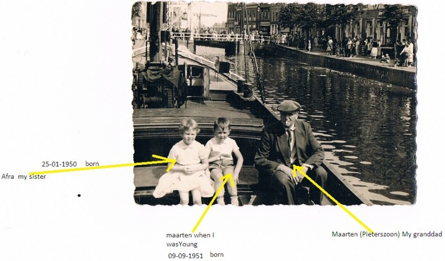 Our correspondent, Maarten, with his sister and Catharina Elisabeth's son Maarten, the second skipper of our barge. Alkmaar in the mid-1950s.