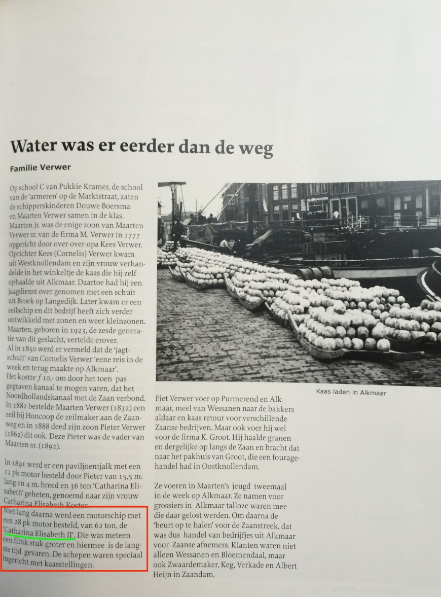 """The Verwer chapter """"Water was there before the road"""" with the paragraph introducing our Catharina Elisabeth highlighted"""