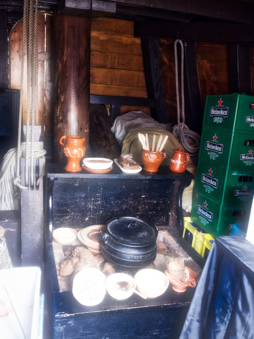 Galley and sleeping quarters - with old and new types of provisions.