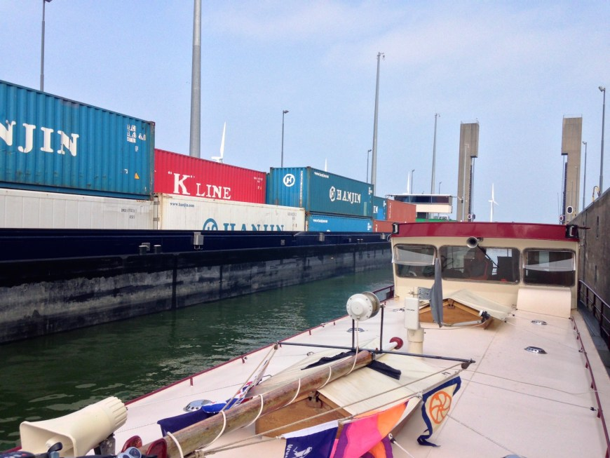 Entered the Kreekrak lock, moved well up beside one of the big commercials, and moored on the other side.