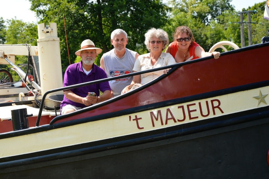 On board 't Majeur in 2013 with Rebecca, Michel and Panache.