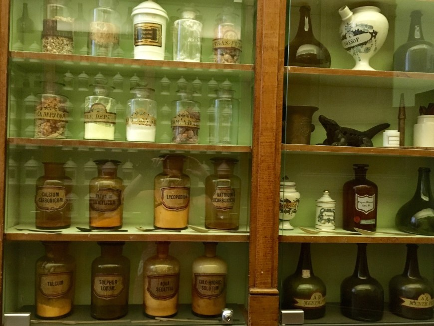 A tiny fraction of the extensive display of pharmaceutical ingredients and products that the hospital used.
