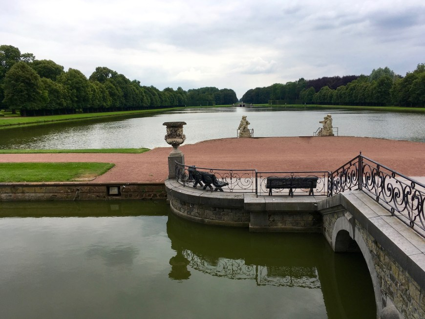 Expansive lake in the rear of the chateau.