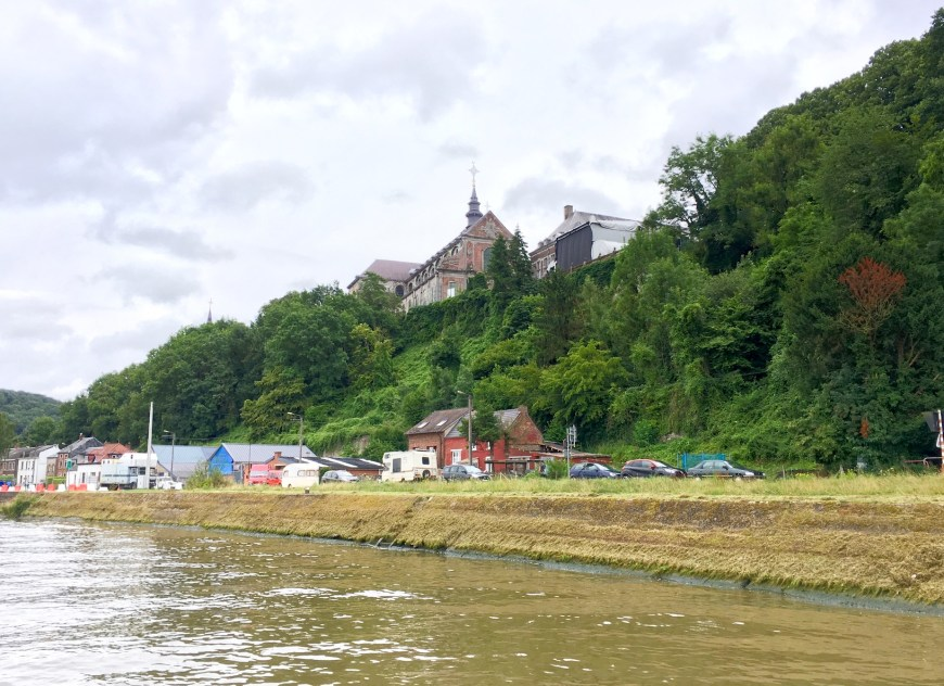 Dominating the river, the Abbey at Floreffe - something to visit in the future.