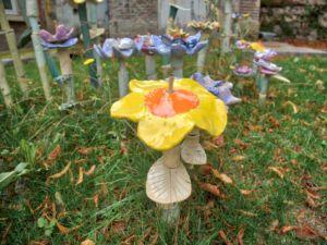 Lovely art installation of ceramic flowers