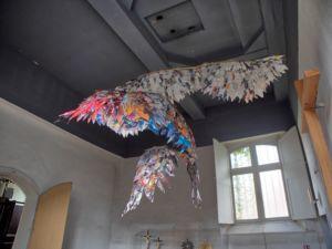 A rather uninspiring art museum/gallery - a paper bird.