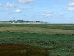 St Valery across the salt marsh.