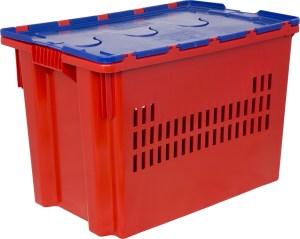Ящик с крышкой 600x400x415 перфорированные стенки Арт.606-1