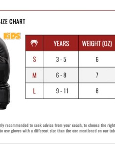 Venum kids boxing gloves size chart also guide europe rh euronum