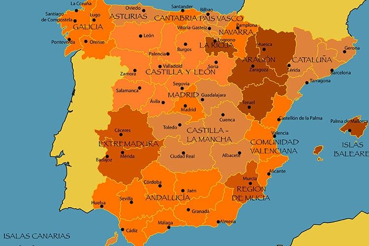 Mapa da Espanha na atualidade