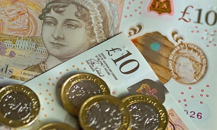 notas e moedas de libra