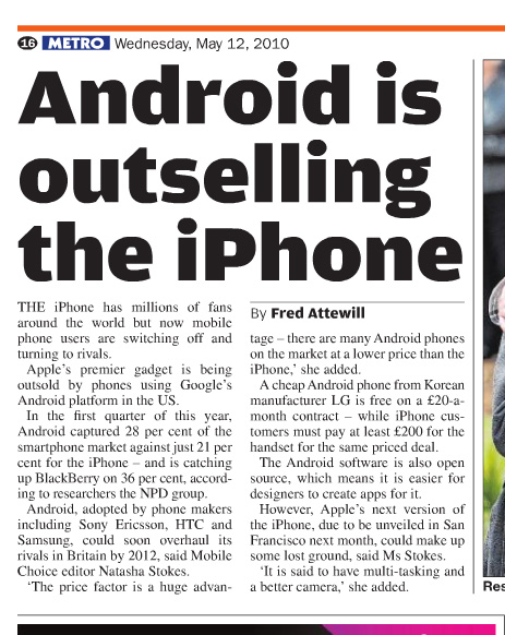android iphone market share newspaper