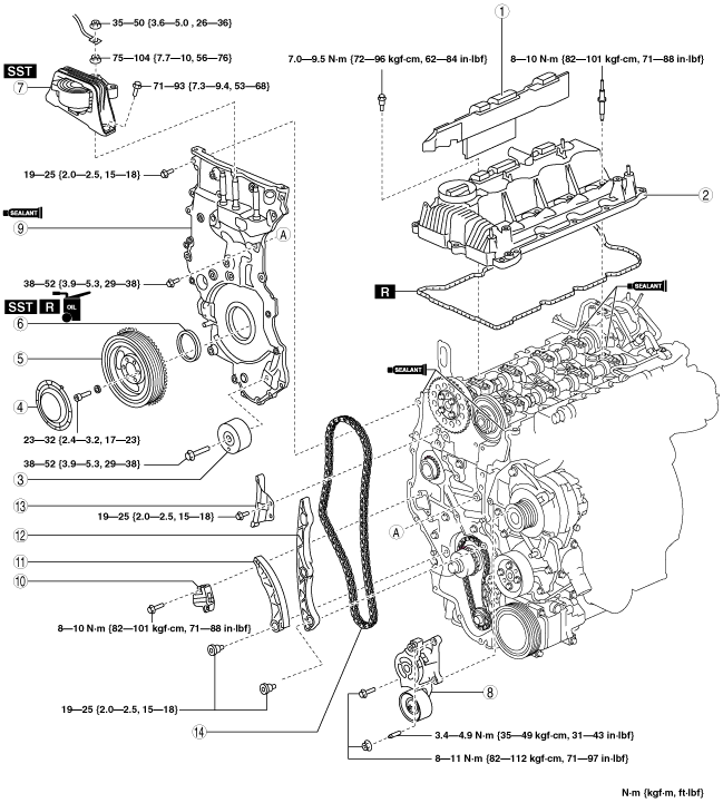 TIMING CHAIN REMOVAL/INSTALLATION [MZR-CD 2.2]