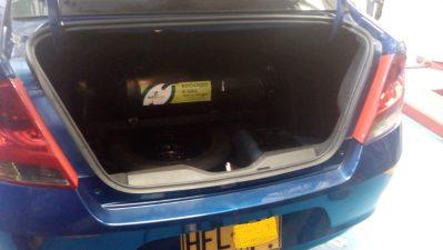 Maleta Chevrolet Sail - Cilindro de 40 litros para un recorrido aproximado 100 km con 14.500 pesos de GNV