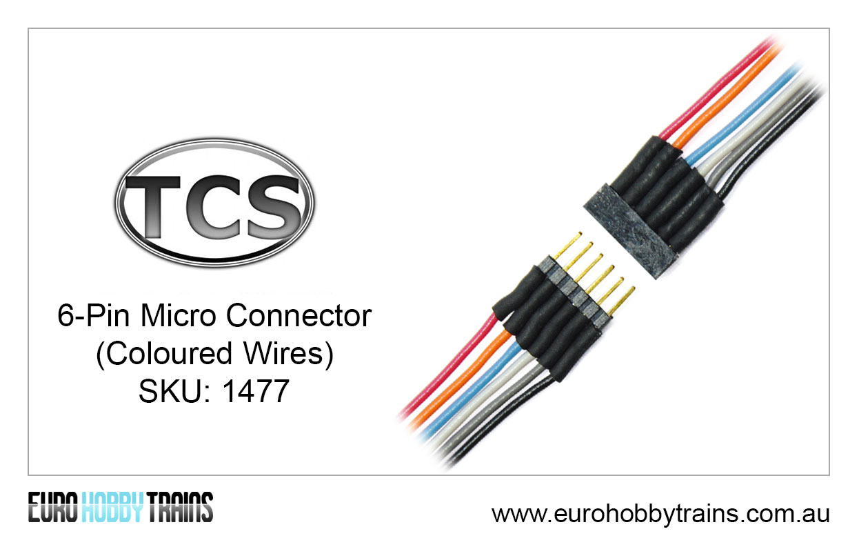 TCS DCC 6-Pin Micro Connector (coloured wires) SKU-1477
