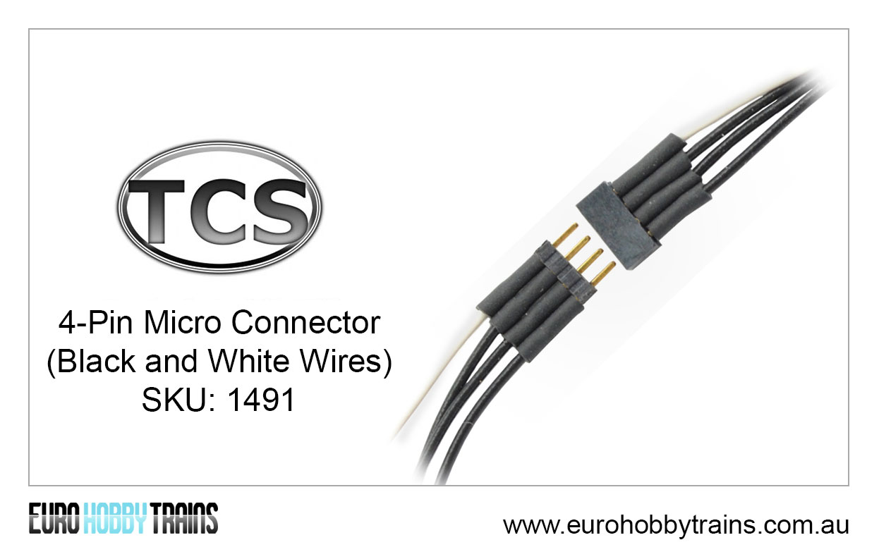 TCS DCC 4-Pin Micro Connector (black and white wires) SKU