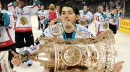 Matt Duchene holds the EURO Cup after the Belfast Giants won Game 6 in Athens Thursday. Visible teammates behind him include P.K. Subban, Nazem Kadri and Joe Pavelski.