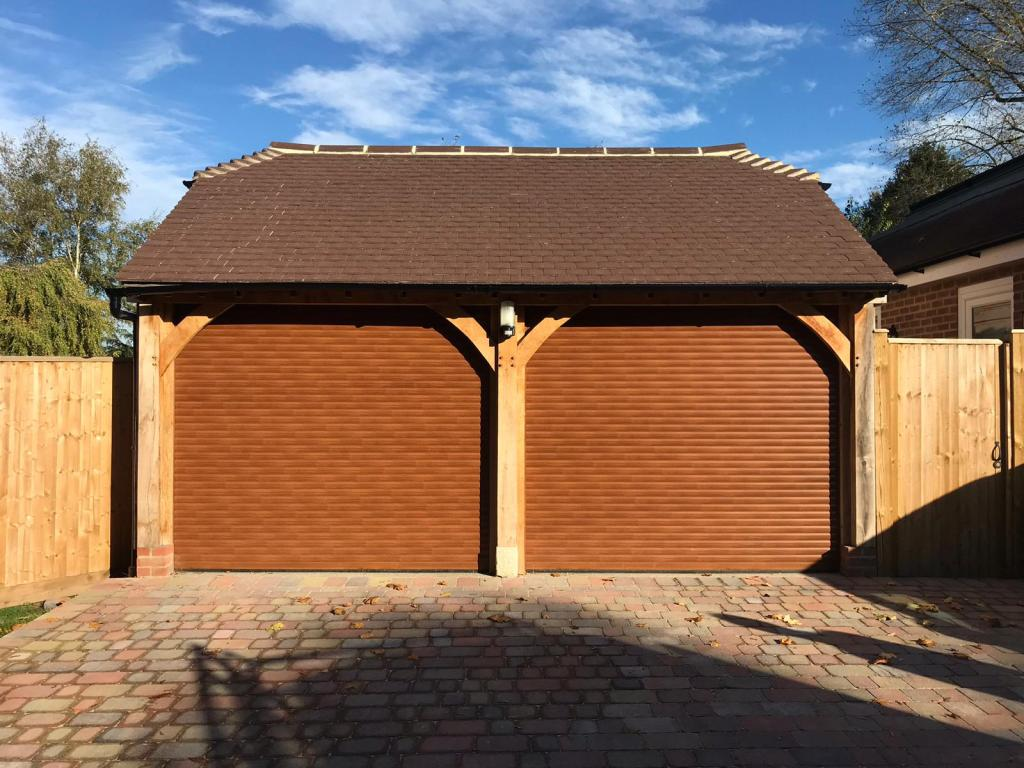 Golden Oak 77mm Euroll UK Classic Roller Garage Door