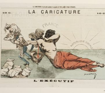 Political Cartoon of French Head of State Adolphe Thiers and Vice President Jules Favre Ceding Alsace and Lorraine to Germany, 1871