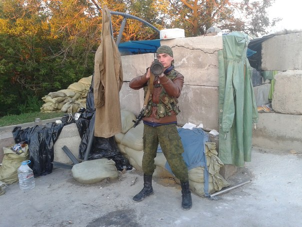 Gritsyuk posing with a rocket launcher