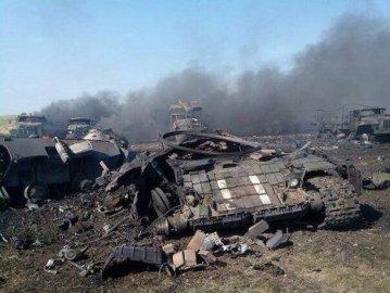 Ukrainian armor devastated by Russian Grad rockets.