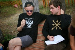 "(from left to right) Oleg Frolov, currently a member of the ""parliament of the Donetsk People's Republic"", and Pavel Zarifullin, former leader of the Eurasian Youth Union, in the summer camp in 2006"