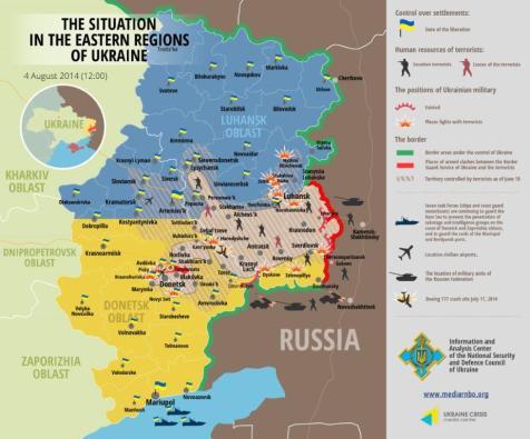 Die Situation in den östlichen Regionen der Ukraine 4. August 2014