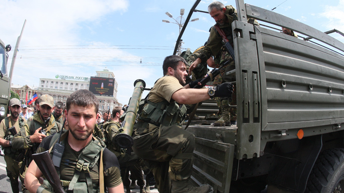 One of Ramzan Kadyrov's military units from Chechnya sent to fight for Putin in his hybrid war against Ukraine in the Donbas. Russia-occupied Donetsk, Ukraine, 2014