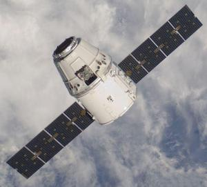 The SpaceX Dragon CRS variant approaching the International Space Station (ISS) during the mission in May 2012
