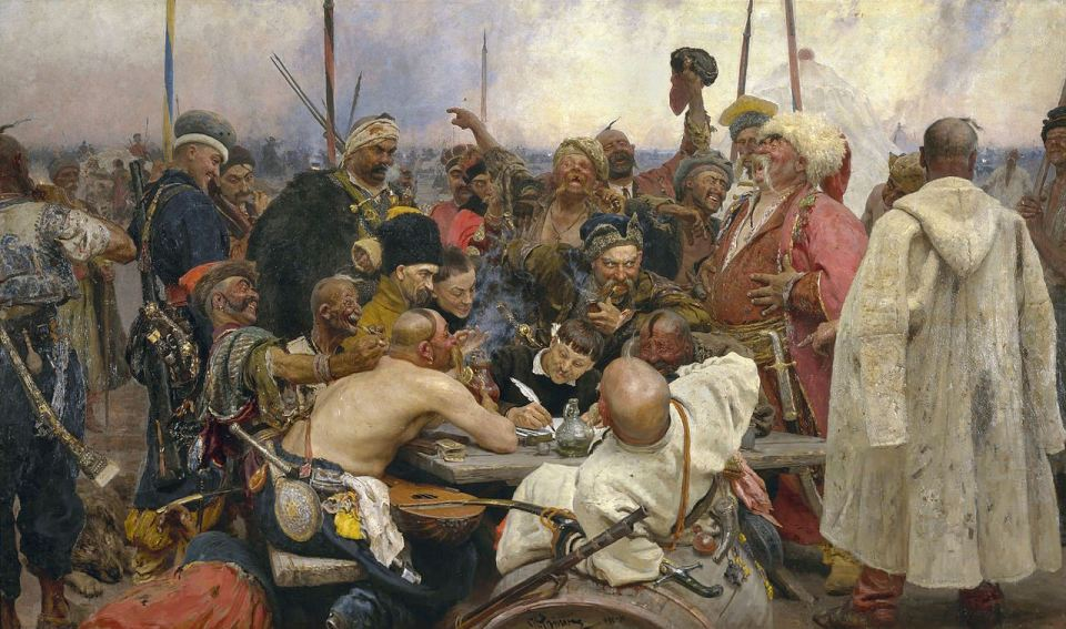 "Ilya Repin's ""Cossaks' Reply to the Turkish Sultan"" commemorates the Ukrainian Cossack roots of the artist."