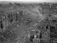 The ruins of Grozny, the capital city of Chechnya, in March 1995 during the Second Russo-Chechen War after multi-year Russian air and artillery bombardment.